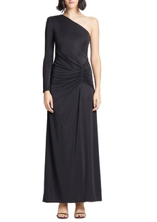 Halston Heritage Ruched One-Sleeve Metallic Knit Gown