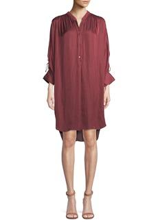 Halston Heritage Ruched Oversized Shirt Dress