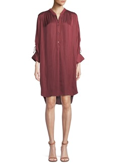 Halston Heritage Ruched Oversized Shirt Dress