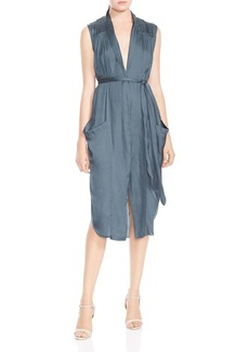 HALSTON HERITAGE Ruched Pocket Shirt Dress