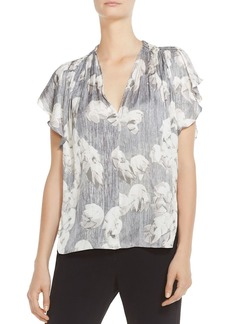 HALSTON HERITAGE Ruched Printed Flutter-Sleeve Top