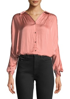 Halston Heritage Ruched Satin Button-Up Blouse