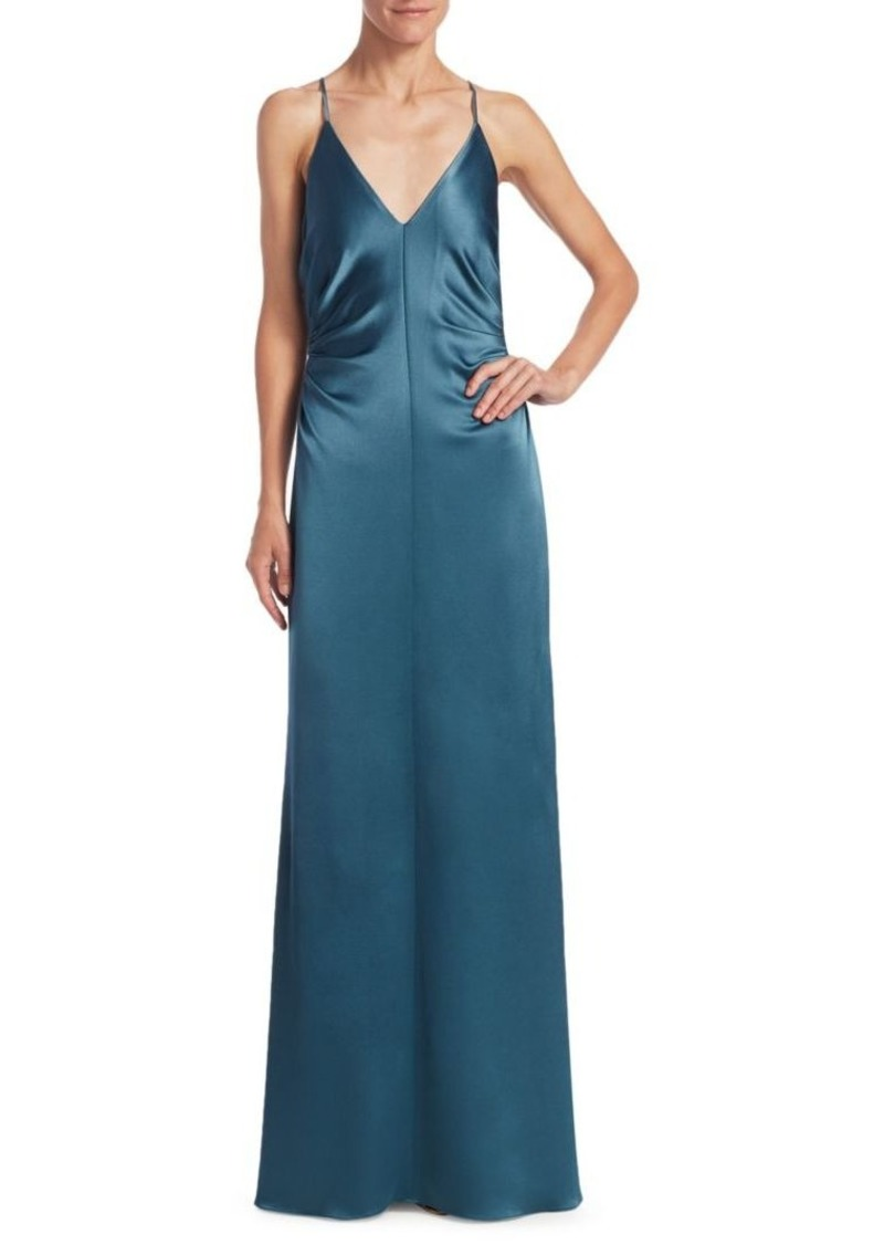 Halston Heritage Ruched-Side Column Evening Gown