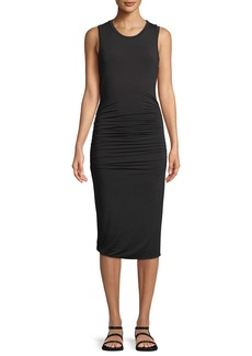Halston Heritage Ruched-Side Sleeveless Jersey Dress