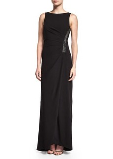 Halston Heritage Ruched Sleeveless Gown w/ Rhinestones