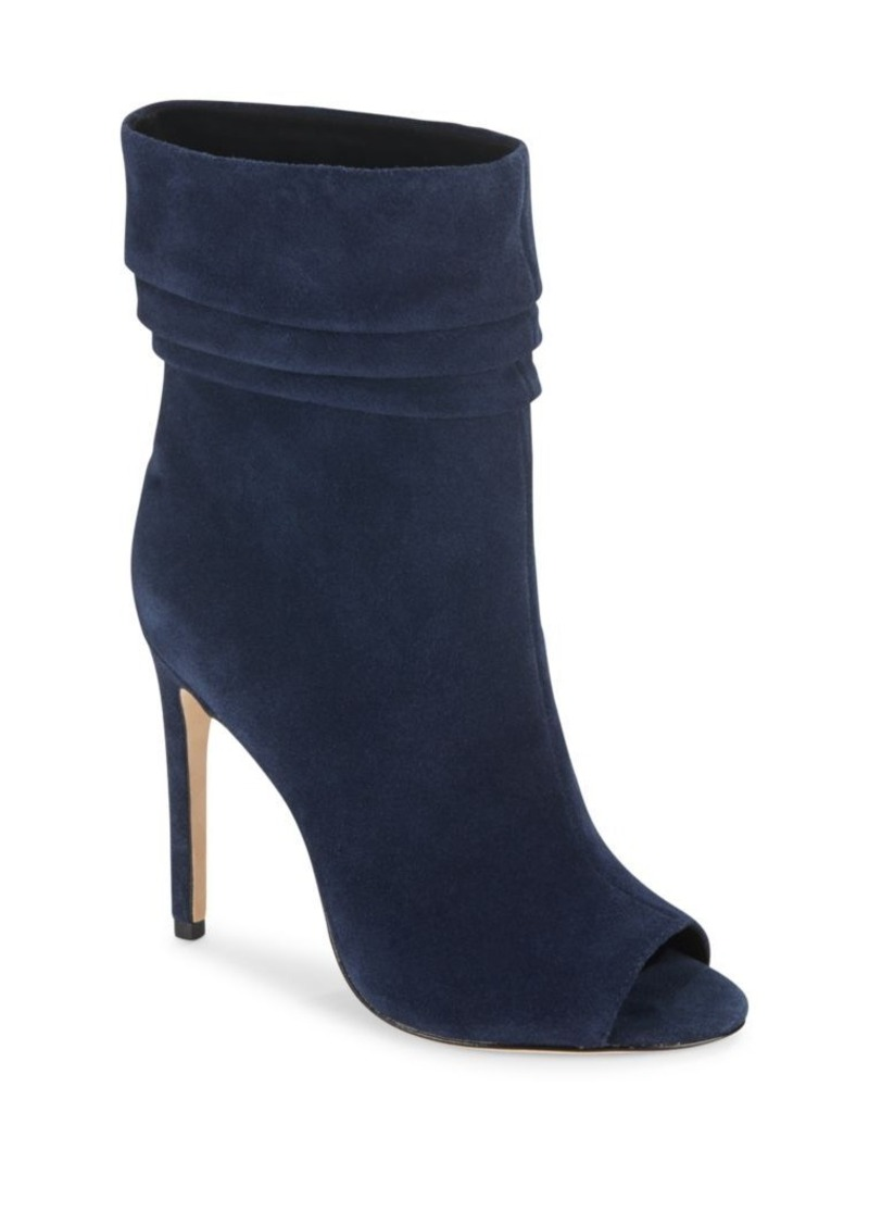 Halston Heritage Ruched Suede Open Toe Booties