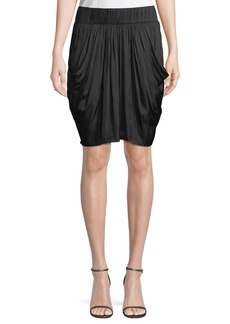 Halston Heritage Ruched-Waist Flowy Knee-Length Skirt