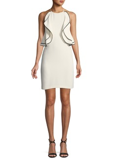 Halston Heritage Ruffle-Front Halter Mini Cocktail Dress