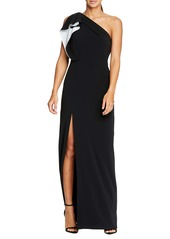 Halston Heritage Ruffle One-Shoulder Column Gown