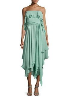 Halston Heritage Ruffle-Trim Strapless Dress