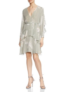 HALSTON HERITAGE Ruffled Botanical-Print Silk Dress