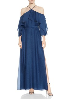 HALSTON HERITAGE Ruffled Cold-Shoulder Gown