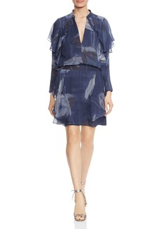 HALSTON HERITAGE Ruffled Floral-Print Silk Dress