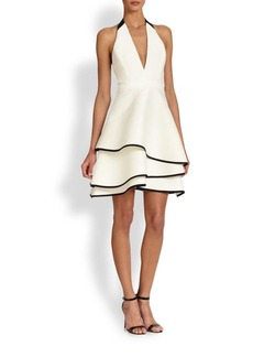 Halston Heritage Ruffled Halter Dress