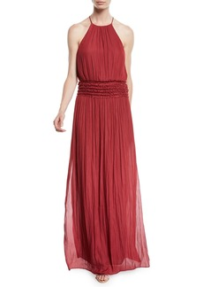 Halston Heritage Ruffled Halter Gown w/ Smocked Waist