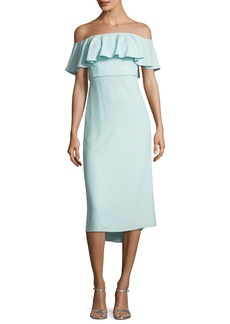 Halston Heritage Ruffled Off-the-Shoulder Flounce Cocktail Dress