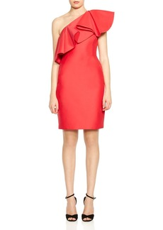 HALSTON HERITAGE Ruffled One-Shoulder Dress