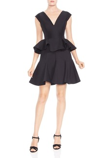 HALSTON HERITAGE Ruffled Peplum Dress