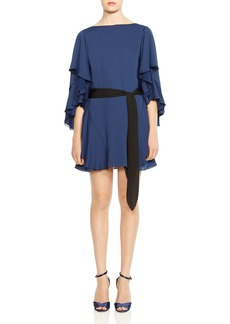 HALSTON HERITAGE Ruffled Shift Dress