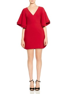 HALSTON HERITAGE Ruffled Tiered-Sleeve Mini Dress