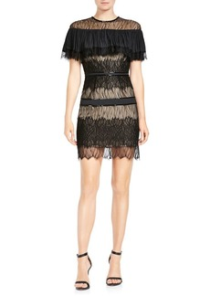 Halston Heritage Ruffled Wavy Lace Mini Dress