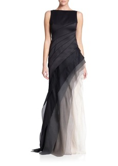 Halston Heritage Satin and Organza Tiered Degradé Gown
