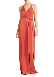HALSTON HERITAGE Satin-Backed Crepe Gown with Sash