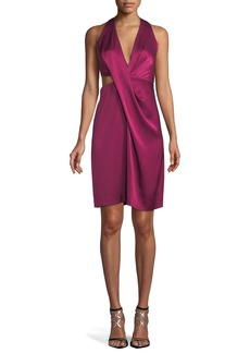 Halston Heritage Satin Halter Dress w/ Side Cutout