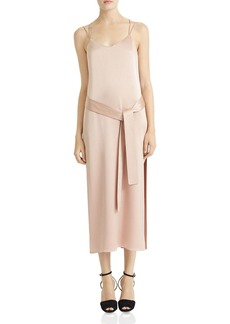 HALSTON HERITAGE Satin Midi Slip Dress