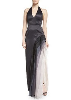 Halston Heritage Satin Tiered Ombre Chiffon Halter Gown