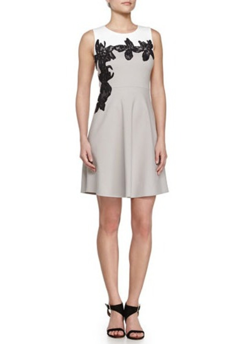 Halston Heritage Scoop Neck Floral Applique Dress
