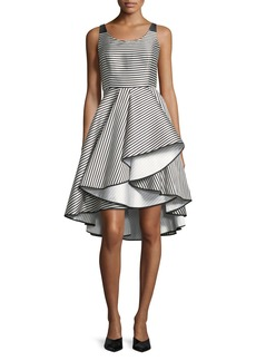 Halston Heritage Scoop-Neck Striped Cocktail Dress w/ Dramatic Skirt
