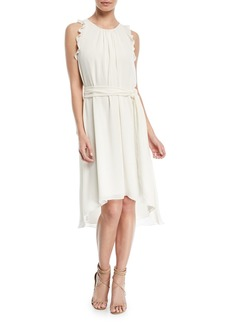 Halston Heritage Self-Tie High-Low Sleeveless Dress