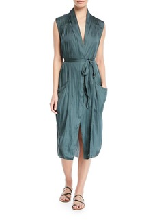 Halston Heritage Self-Tie Shirt Dress w/ Pockets