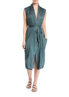 Halston Heritage Self-Tie Shirt Dress w/ Pockets