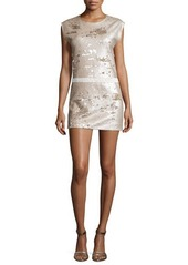 Halston Heritage Sequined Cap-Sleeve Slip Dress