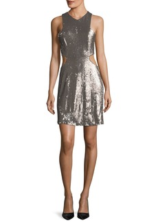 Halston Heritage Sequined V-Neck Cutout Cocktail Dress