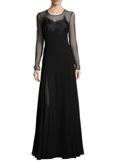 Halston Heritage Sheer Long-Sleeve Embroidered Evening Gown
