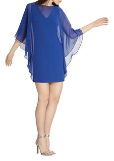 HALSTON HERITAGE Sheer Overlay Dress