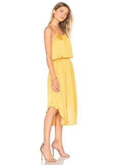 Halston Heritage Shirred Midi Dress in Yellow. - size L (also in M,S)