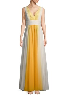 Halston Heritage Shirred Ombre Floor-Length Gown