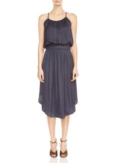 HALSTON HERITAGE Shirred Satin Midi Dress