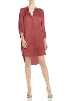 HALSTON HERITAGE Shirred Satin Shirt Dress