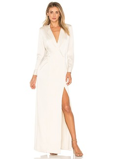 Halston Heritage Shirt Maxi Dress in Cream. - size 0 (also in 2,4)