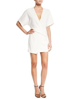 Halston Heritage Short Dolman-Sleeve Deep V-Neck Wrap Dress