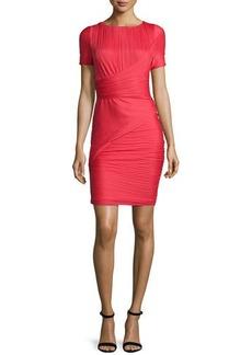 Halston Heritage Short-Sleeve Bandage Cocktail Dress