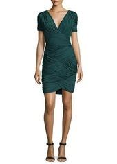 Halston Heritage Short-Sleeve Basket-Weave Cocktail Dress