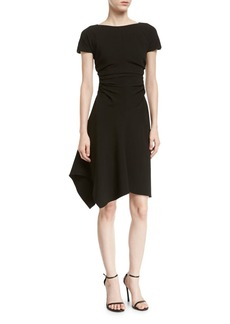 Halston Heritage Short-Sleeve Boat-Neck Dress w/ Waist Gathers
