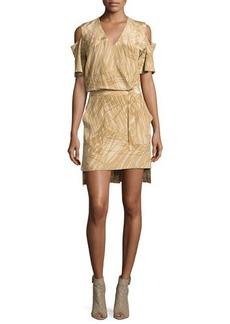 Halston Heritage Short-Sleeve Cold-Shoulder Faux-Wrap Dress