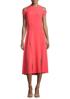 Halston Heritage Short-Sleeve Cold-Shoulder Midi Dress w/ Double-Slit Hem